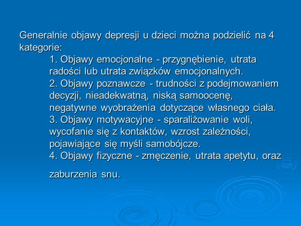Generalnie objawy depresji u dzieci można podzielić na 4 kategorie: 1. Objawy emocjonalne - przygnębienie, utrata radości lub utrata związków emocjona