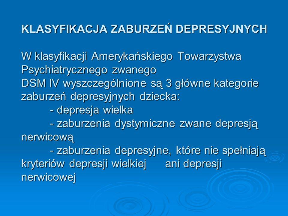 KLASYFIKACJA ZABURZEŃ DEPRESYJNYCH W klasyfikacji Amerykańskiego Towarzystwa Psychiatrycznego zwanego DSM IV wyszczególnione są 3 główne kategorie zab