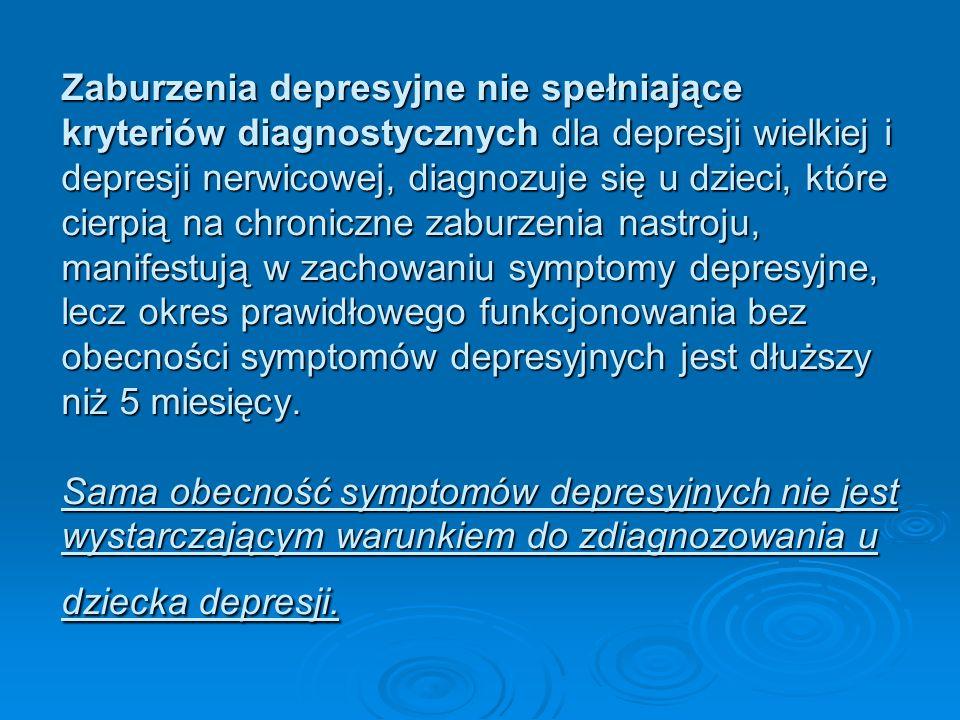 Zaburzenia depresyjne nie spełniające kryteriów diagnostycznych dla depresji wielkiej i depresji nerwicowej, diagnozuje się u dzieci, które cierpią na