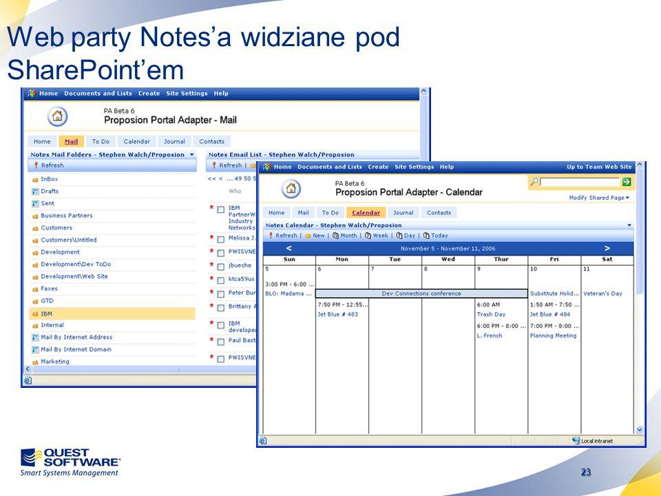 22 Notes Integrator for SharePoint Dostęp do informacji LN z SharePoint Dostęp do SharePoint z poziomu LN Umożliwia adaptację SharePoint w sytuacji ki