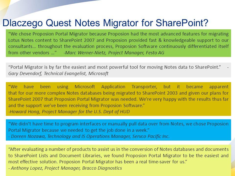 23 Web party Notesa widziane pod SharePointem