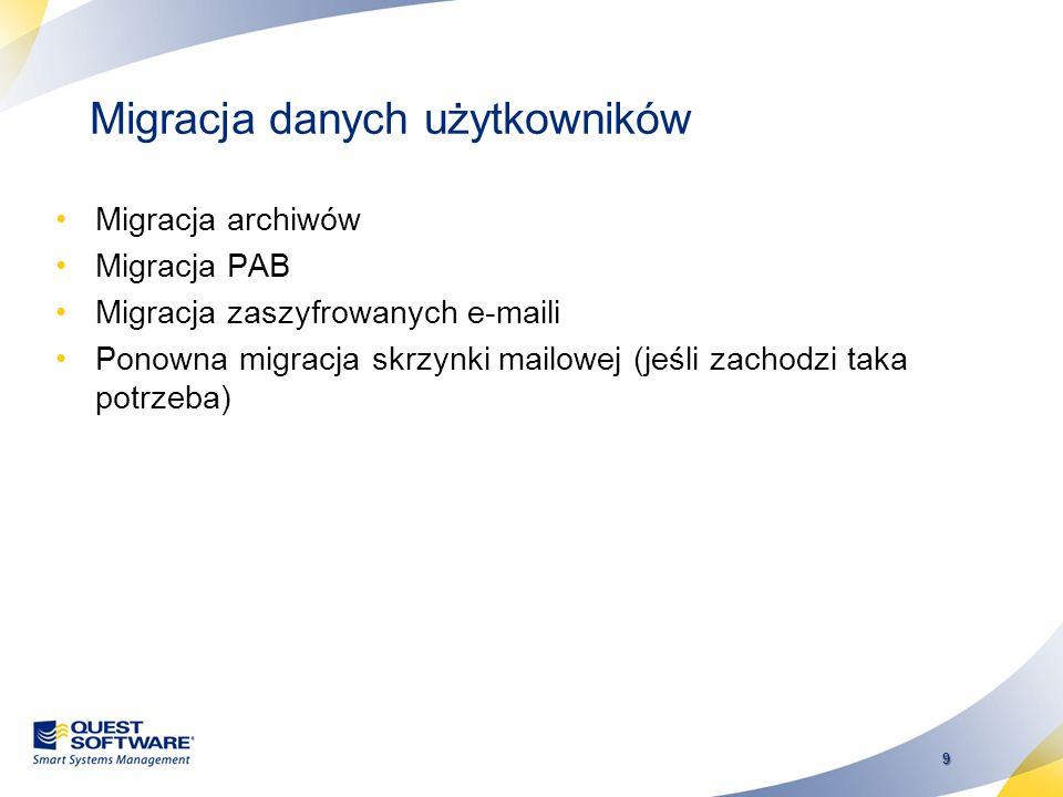 8 Migracja danych katalogowych Listy dystrybucyjne Aliasy Internetowe Tłumaczenie adresów pomiędzy Notes a Exchange: –Tłumaczenie formatowania adresac