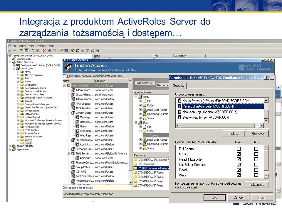Integracja z produktem ActiveRoles Server do zarządzania tożsamością i dostępem…
