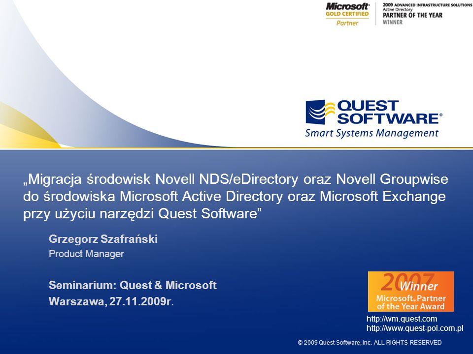 2 1.Produkty Quest do migracji do MS Active Directory 2.Cechy produktu NDS Migrator 3.Produkty Quest do migracji do MS Exchange 4.Cechy produktu GroupWise Migrator 5.Demo przykładowej migracji 6.Podsumowanie Agenda