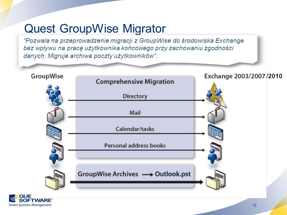12 Quest GroupWise Migrator Pozwala na przeprowadzenie migracji z GroupWise do środowiska Exchange bez wpływu na pracę użytkownika końcowego przy zach