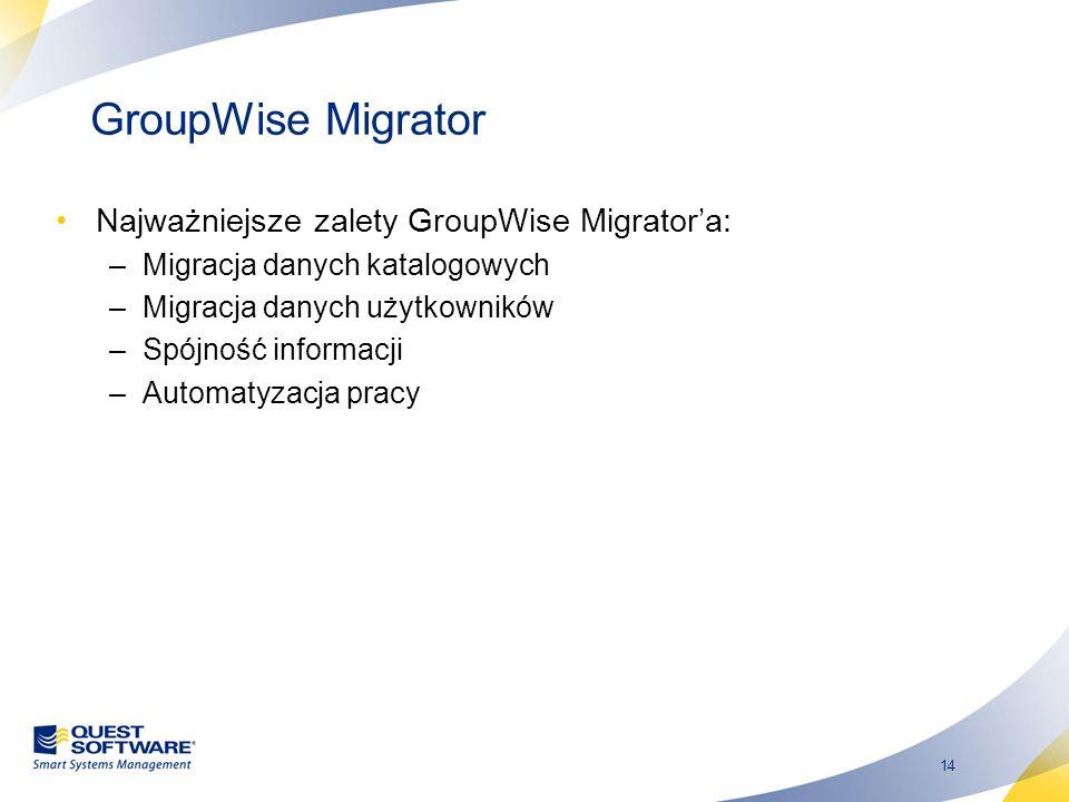 14 GroupWise Migrator Najważniejsze zalety GroupWise Migratora: –Migracja danych katalogowych –Migracja danych użytkowników –Spójność informacji –Auto