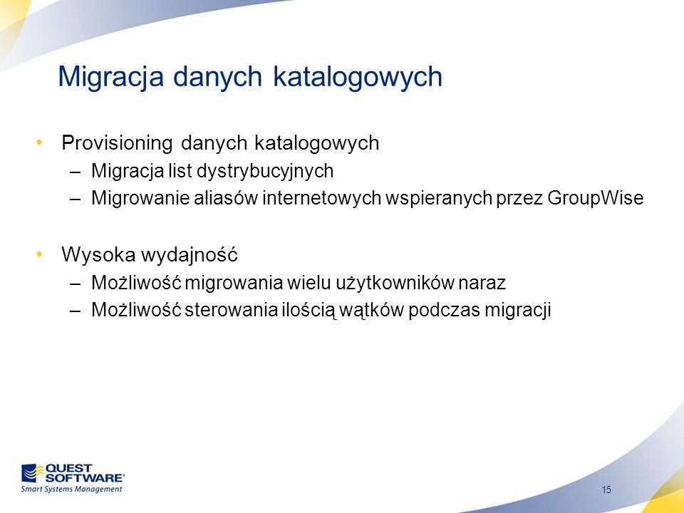 15 Migracja danych katalogowych Provisioning danych katalogowych –Migracja list dystrybucyjnych –Migrowanie aliasów internetowych wspieranych przez Gr