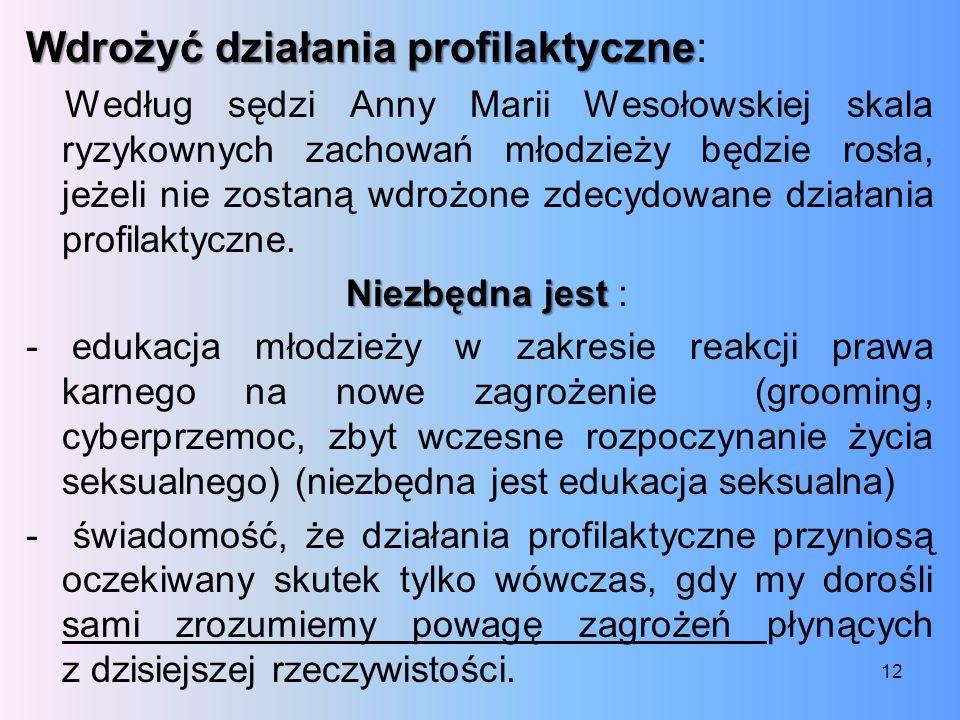 Wdrożyć działania profilaktyczne Wdrożyć działania profilaktyczne: Według sędzi Anny Marii Wesołowskiej skala ryzykownych zachowań młodzieży będzie ro