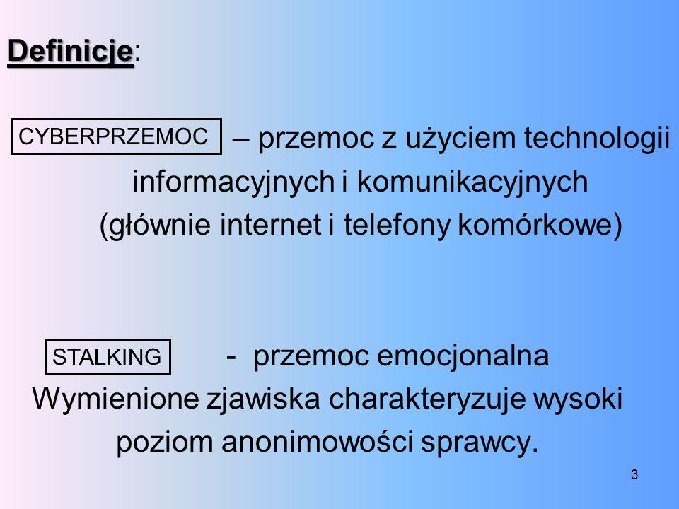 Podstawowe formy zjawiska cyberprzemocy to: nękanie, straszenie, szantażowanie z użyciem sieci publikowanie lub rozsyłanie ośmieszających, kompromitujących informacji, zdjęć, filmów z użyciem sieci podszywanie się w sieci pod kogoś wbrew jego woli Do działań określonych mianem cyberprzemocy wykorzystywane są głównie: poczta elektroniczna, czaty, komunikatory, strony internetowe, blogi, serwisy społecznościowe, grupy dyskusyjne, serwisy SMS i MMS.