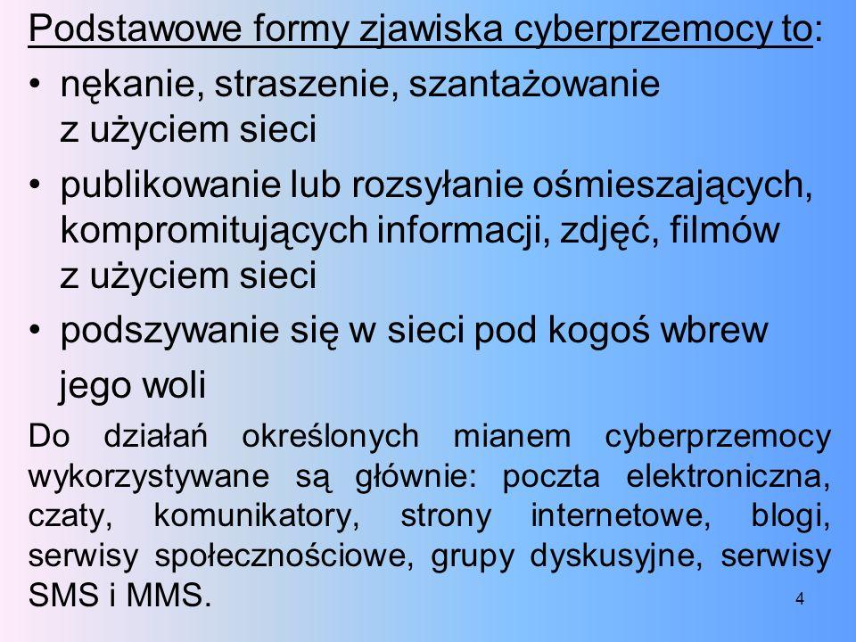 Podstawowe formy zjawiska cyberprzemocy to: nękanie, straszenie, szantażowanie z użyciem sieci publikowanie lub rozsyłanie ośmieszających, kompromituj
