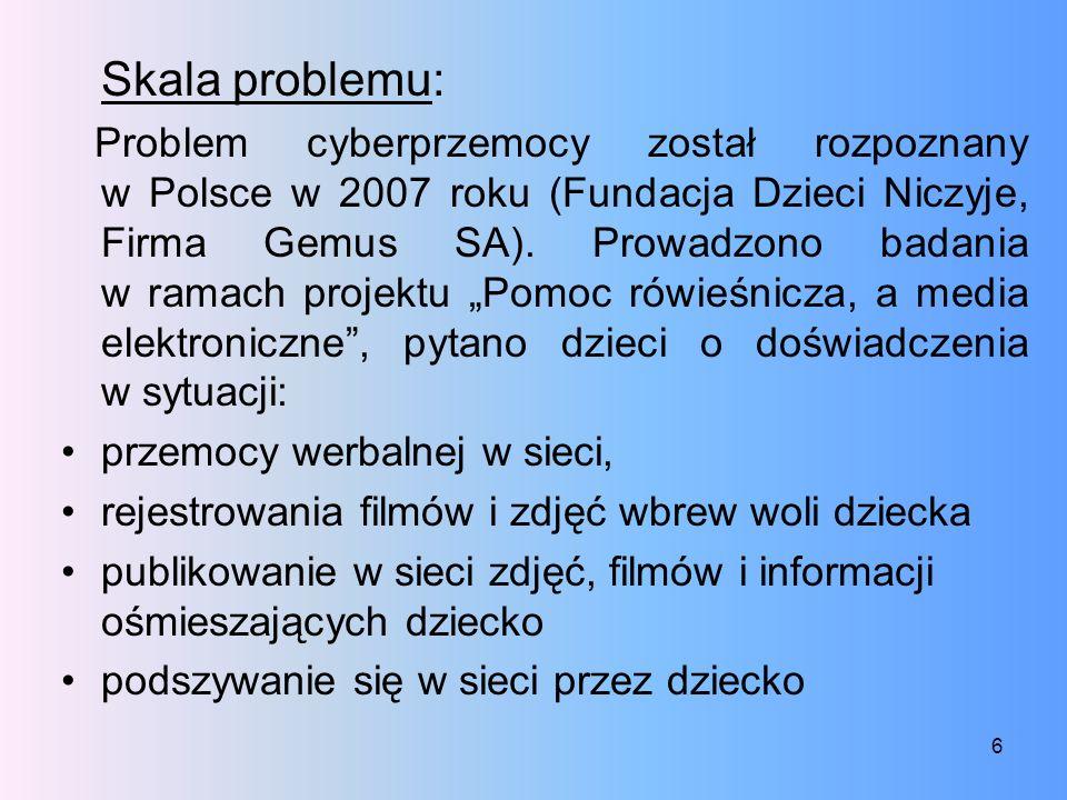 Skala problemu: Problem cyberprzemocy został rozpoznany w Polsce w 2007 roku (Fundacja Dzieci Niczyje, Firma Gemus SA). Prowadzono badania w ramach pr