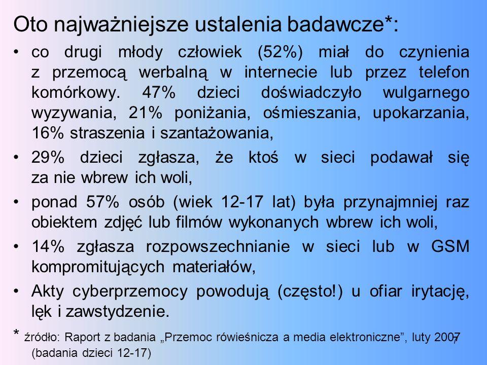 Oto najważniejsze ustalenia badawcze*: co drugi młody człowiek (52%) miał do czynienia z przemocą werbalną w internecie lub przez telefon komórkowy. 4