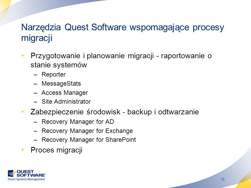 13 Narzędzia Quest Software wspomagające procesy migracji Przygotowanie i planowanie migracji - raportowanie o stanie systemów –Reporter –MessageStats
