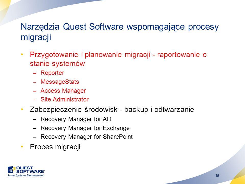 15 Narzędzia Quest Software wspomagające procesy migracji Przygotowanie i planowanie migracji - raportowanie o stanie systemów –Reporter –MessageStats