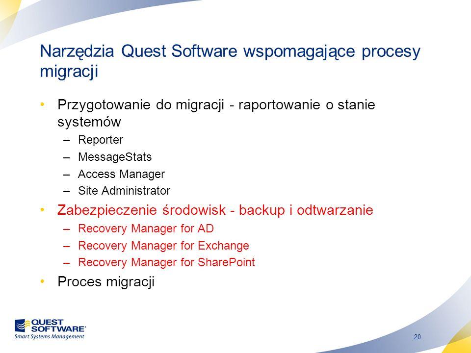 20 Narzędzia Quest Software wspomagające procesy migracji Przygotowanie do migracji - raportowanie o stanie systemów –Reporter –MessageStats –Access M