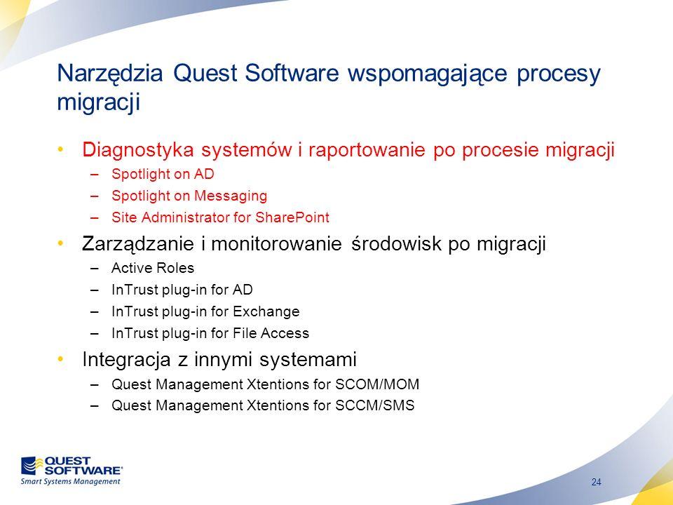 24 Narzędzia Quest Software wspomagające procesy migracji Diagnostyka systemów i raportowanie po procesie migracji –Spotlight on AD –Spotlight on Mess