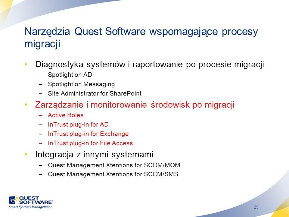 29 Narzędzia Quest Software wspomagające procesy migracji Diagnostyka systemów i raportowanie po procesie migracji –Spotlight on AD –Spotlight on Mess
