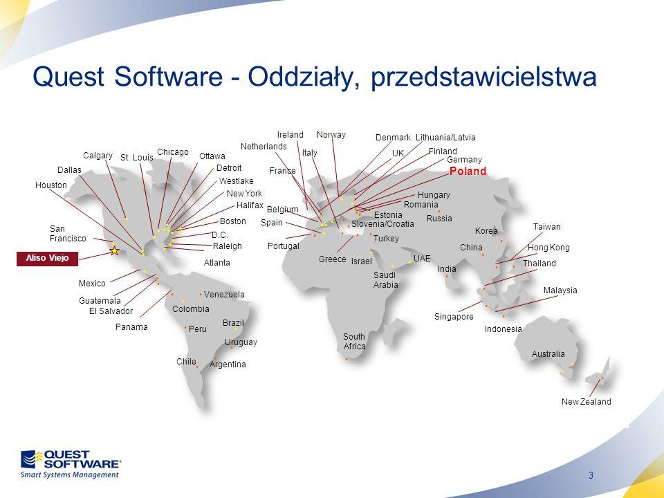 3 Quest Software - Oddziały, przedstawicielstwa Dallas D.C. New York San Francisco UK Germany Italy Spain Israel Detroit Raleigh Atlanta Boston Chicag
