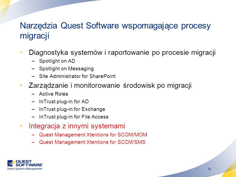 34 Narzędzia Quest Software wspomagające procesy migracji Diagnostyka systemów i raportowanie po procesie migracji –Spotlight on AD –Spotlight on Mess