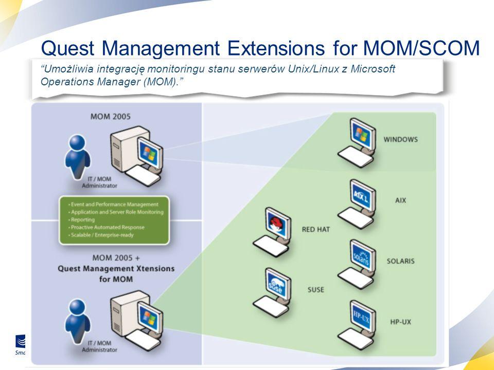 35 Quest Management Extensions for MOM/SCOM Umożliwia integrację monitoringu stanu serwerów Unix/Linux z Microsoft Operations Manager (MOM).