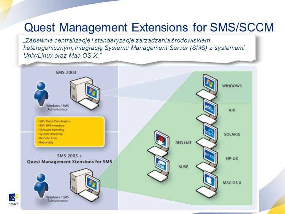 36 Quest Management Extensions for SMS/SCCM Zapewnia centralizację i standaryzację zarządzania środowiskiem heterogenicznym, integrację Systemu Manage