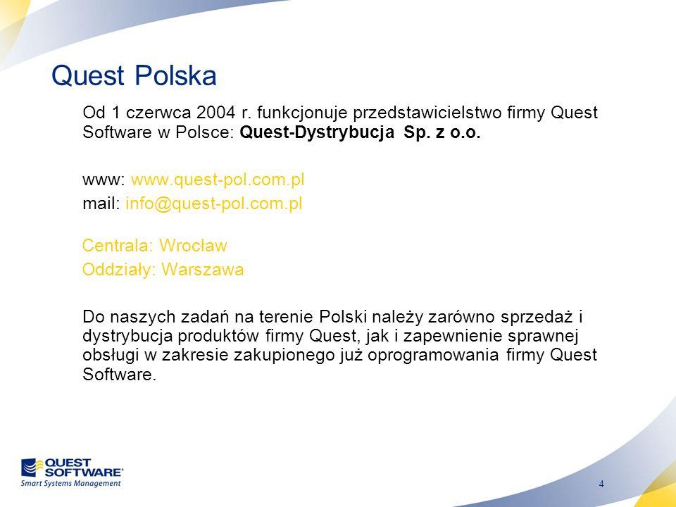 4 Quest Polska Od 1 czerwca 2004 r. funkcjonuje przedstawicielstwo firmy Quest Software w Polsce: Quest-Dystrybucja Sp. z o.o. www: www.quest-pol.com.