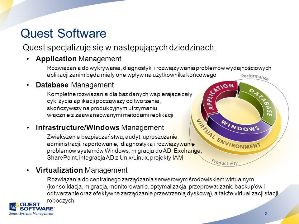 8 Quest Software Quest specjalizuje się w następujących dziedzinach: Application Management Rozwiązania do wykrywania, diagnostyki i rozwiązywania pro