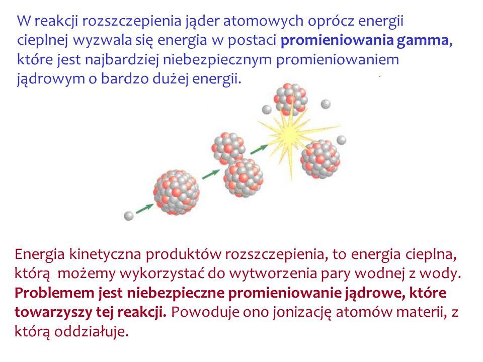 W reakcji rozszczepienia jąder atomowych oprócz energii cieplnej wyzwala się energia w postaci promieniowania gamma, które jest najbardziej niebezpiec