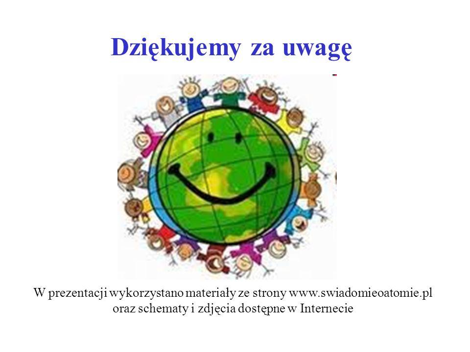 Dziękujemy za uwagę W prezentacji wykorzystano materiały ze strony www.swiadomieoatomie.pl oraz schematy i zdjęcia dostępne w Internecie