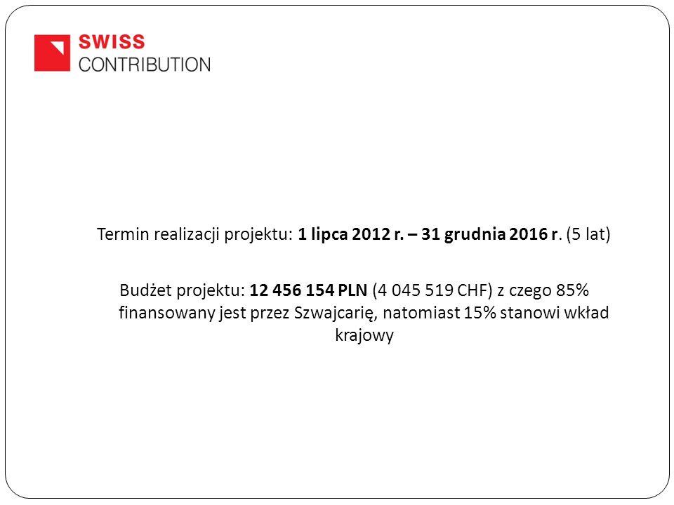 Termin realizacji projektu: 1 lipca 2012 r. – 31 grudnia 2016 r.