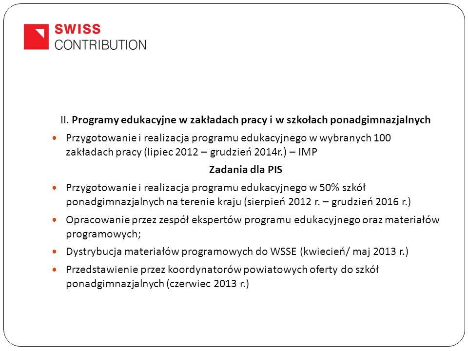 II. Programy edukacyjne w zakładach pracy i w szkołach ponadgimnazjalnych Przygotowanie i realizacja programu edukacyjnego w wybranych 100 zakładach p