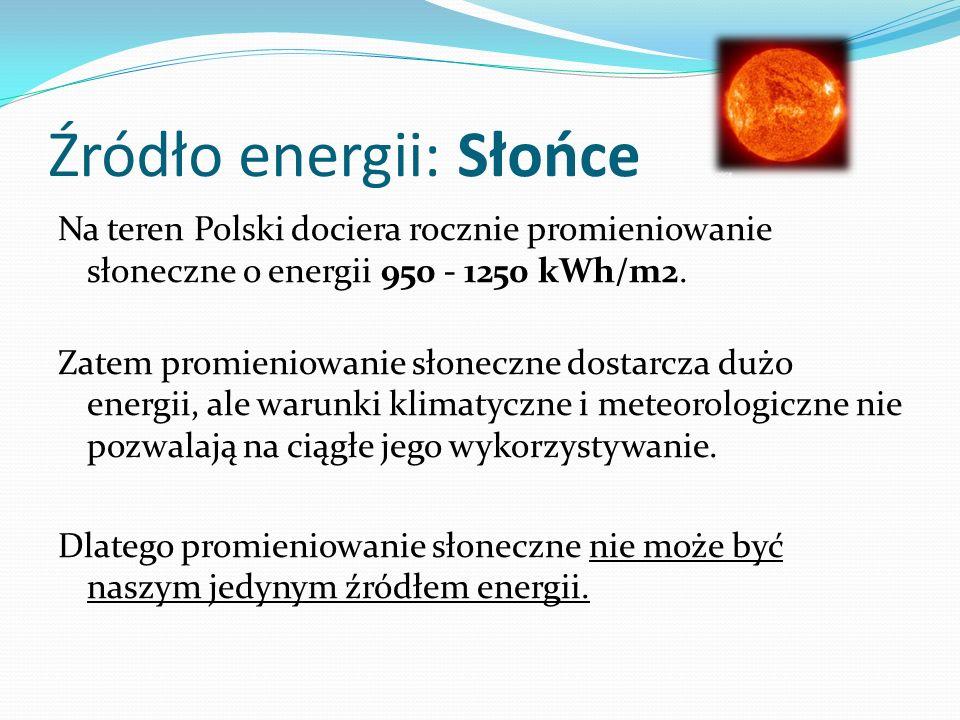 Źródło energii: Słońce Na teren Polski dociera rocznie promieniowanie słoneczne o energii 950 - 1250 kWh/m2. Zatem promieniowanie słoneczne dostarcza