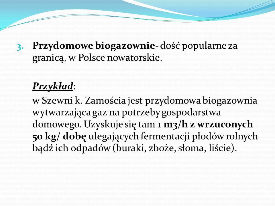 3. Przydomowe biogazownie- dość popularne za granicą, w Polsce nowatorskie. Przykład: w Szewni k. Zamościa jest przydomowa biogazownia wytwarzająca ga