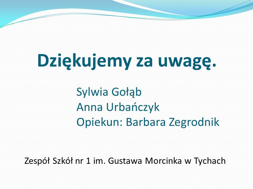 Dziękujemy za uwagę. Sylwia Gołąb Anna Urbańczyk Opiekun: Barbara Zegrodnik Zespół Szkół nr 1 im. Gustawa Morcinka w Tychach