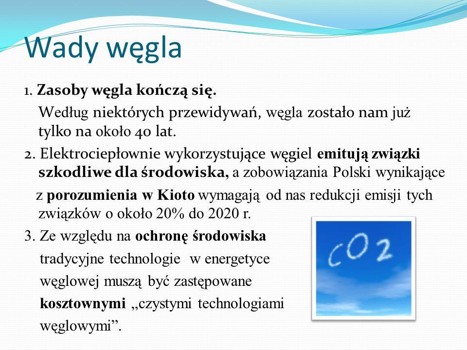 WNIOSEK - problem Zapotrzebowanie na energię wciąż rośnie, a zasoby węgla, jako głównego źródła energii w Polsce drastycznie się zmniejszają.