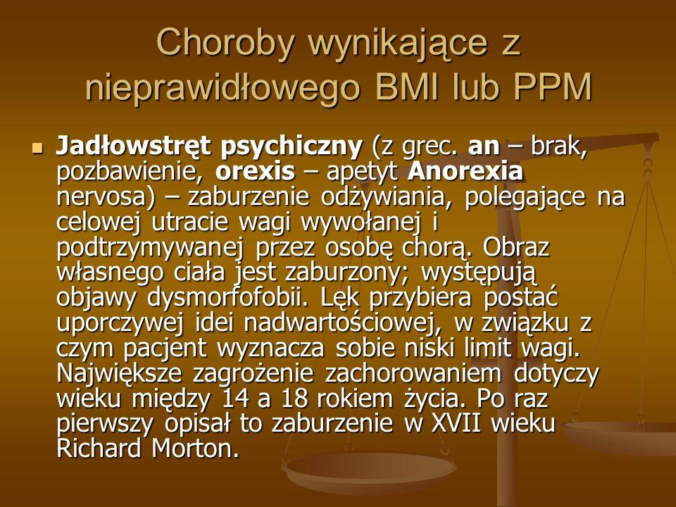 Choroby wynikające z nieprawidłowego BMI lub PPM Jadłowstręt psychiczny (z grec. an – brak, pozbawienie, orexis – apetyt Anorexia nervosa) – zaburzeni