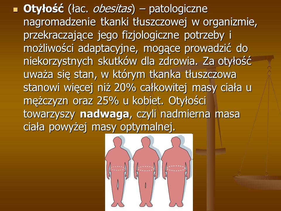 Otyłość (łac. obesitas) – patologiczne nagromadzenie tkanki tłuszczowej w organizmie, przekraczające jego fizjologiczne potrzeby i możliwości adaptacy