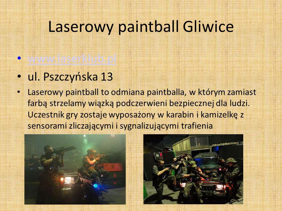 Laserowy paintball Gliwice www.laserklub.pl ul. Pszczyńska 13 Laserowy paintball to odmiana paintballa, w którym zamiast farbą strzelamy wiązką podcze