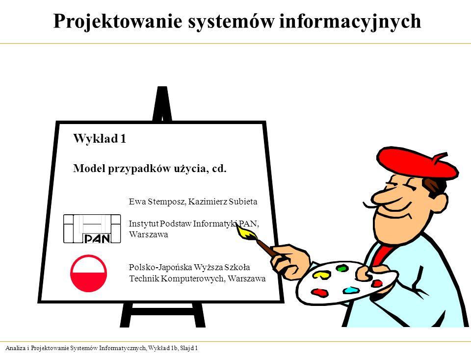 Analiza i Projektowanie Systemów Informatycznych, Wykład 1b, Slajd 1 Projektowanie systemów informacyjnych Ewa Stemposz, Kazimierz Subieta Instytut Po