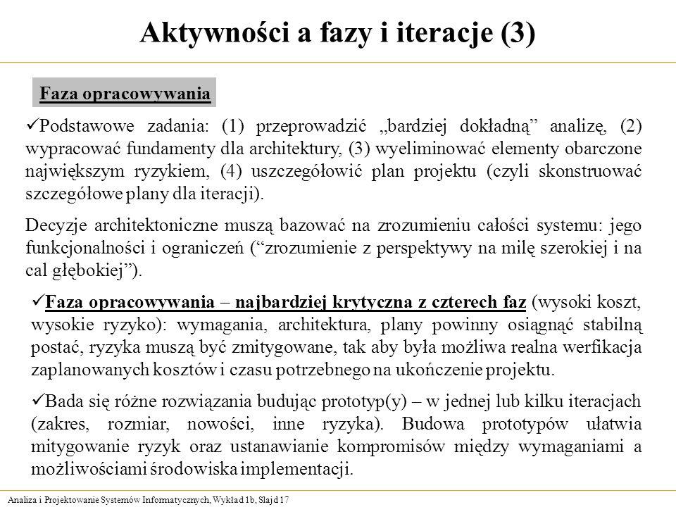 Analiza i Projektowanie Systemów Informatycznych, Wykład 1b, Slajd 17 Aktywności a fazy i iteracje (3) Podstawowe zadania: (1) przeprowadzić bardziej