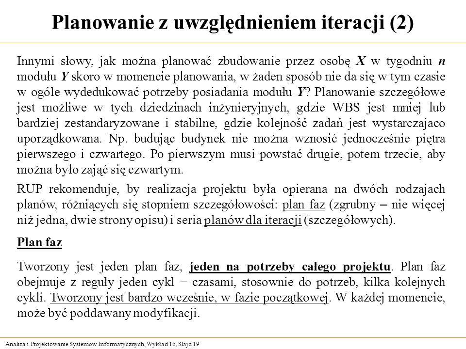 Analiza i Projektowanie Systemów Informatycznych, Wykład 1b, Slajd 19 Planowanie z uwzględnieniem iteracji (2) Innymi słowy, jak można planować zbudow