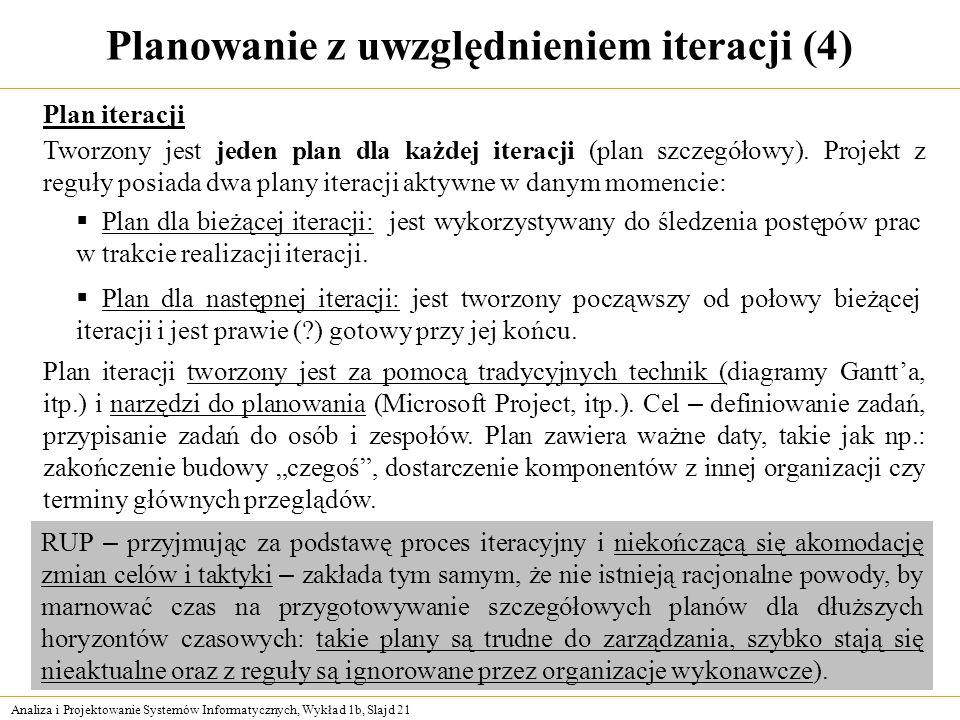 Analiza i Projektowanie Systemów Informatycznych, Wykład 1b, Slajd 21 Planowanie z uwzględnieniem iteracji (4) Plan iteracji Tworzony jest jeden plan
