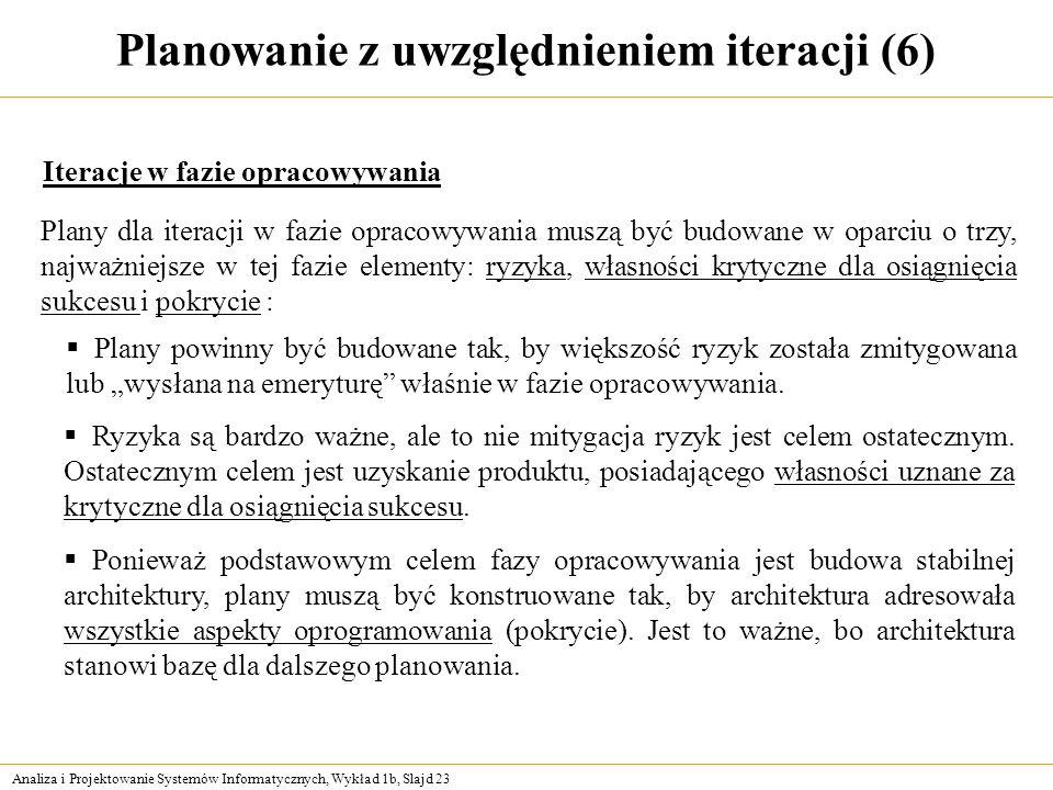 Analiza i Projektowanie Systemów Informatycznych, Wykład 1b, Slajd 23 Planowanie z uwzględnieniem iteracji (6) Iteracje w fazie opracowywania Plany dl