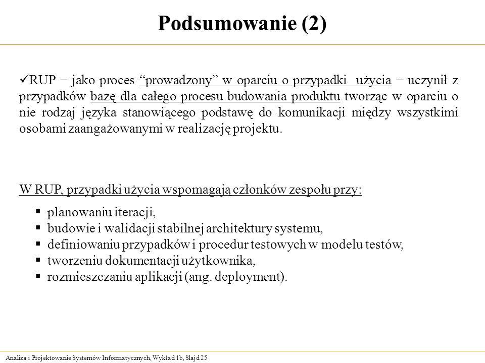Analiza i Projektowanie Systemów Informatycznych, Wykład 1b, Slajd 25 Podsumowanie (2) planowaniu iteracji, budowie i walidacji stabilnej architektury
