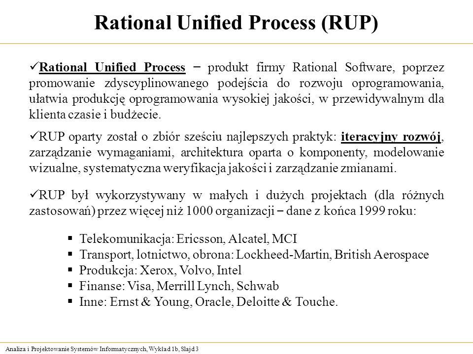 Analiza i Projektowanie Systemów Informatycznych, Wykład 1b, Slajd 4 Model kaskadowy Analiza wymagań Projektowanie Implementacja (kodowanie, testowanie) Integracja (weryfikacja) Specyfikacja wymagań Specyfikacja projektu implementacji Kod Wypuszczenie produktu Wymagania użytkownika W ten sposób, w 5 podstawowych krokach, rozwiązuje się większość problemów inżynierskich, np.