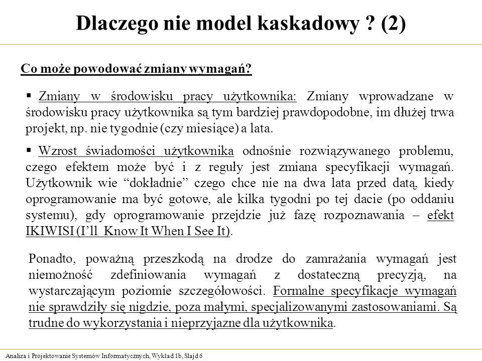 Analiza i Projektowanie Systemów Informatycznych, Wykład 1b, Slajd 6 Dlaczego nie model kaskadowy ? (2) Zmiany w środowisku pracy użytkownika: Zmiany