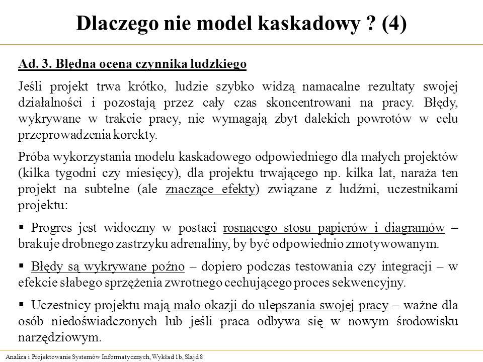 Analiza i Projektowanie Systemów Informatycznych, Wykład 1b, Slajd 8 Dlaczego nie model kaskadowy ? (4) Ad. 3. Błędna ocena czynnika ludzkiego Jeśli p