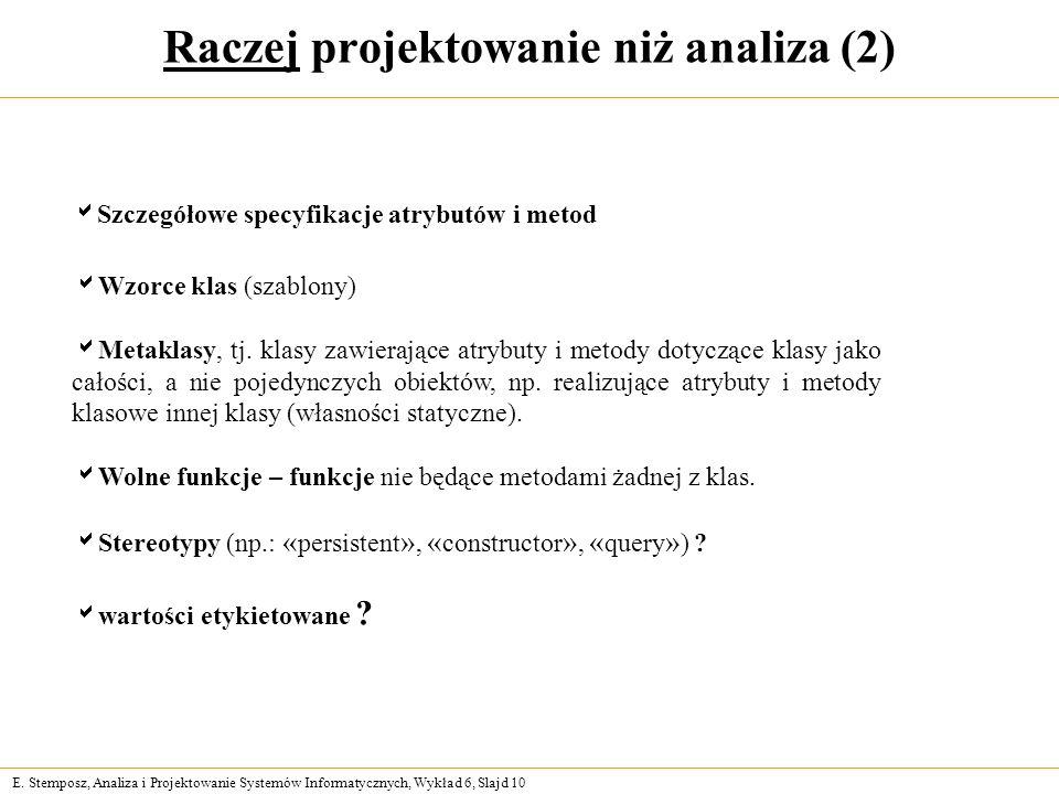 E. Stemposz, Analiza i Projektowanie Systemów Informatycznych, Wykład 6, Slajd 10 Raczej projektowanie niż analiza (2) Wzorce klas (szablony) Metaklas