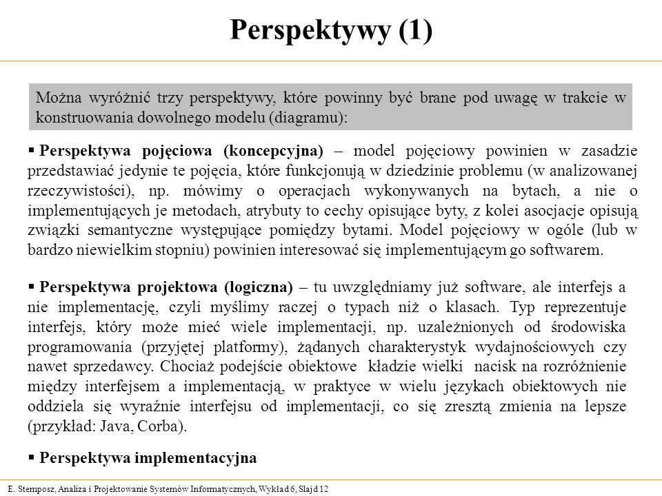 E. Stemposz, Analiza i Projektowanie Systemów Informatycznych, Wykład 6, Slajd 12 Perspektywy (1) Perspektywa pojęciowa (koncepcyjna) – model pojęciow