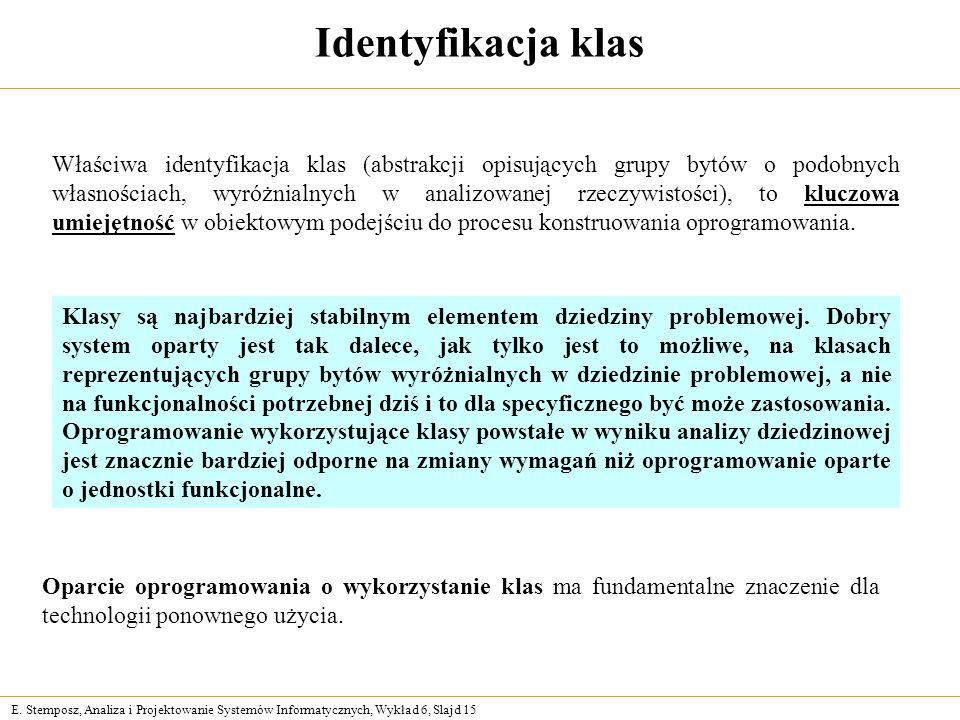E. Stemposz, Analiza i Projektowanie Systemów Informatycznych, Wykład 6, Slajd 15 Identyfikacja klas Właściwa identyfikacja klas (abstrakcji opisujący